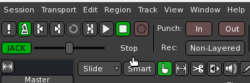 """Ardour's """"Jack/Int."""" sync button, just below the transport."""