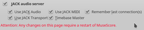 Jack options in Musescore - Use Jack Transport and Timebase Master seem to be important ones for sync.