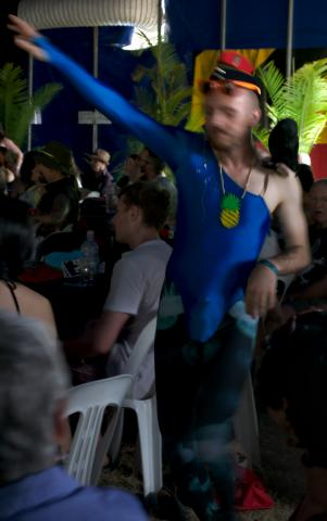 "Because sometimes you just need to get your ""shove a pineapple down your lycra, catch up with some avian taxidermy and hit the big top"" groove on. #woodfordFF 2015"