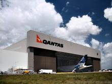 """This is the new A380 when it made it's first visit to Australian soil - touching down at Brisbane airport for a quick Quantas paintjob before heading down south. Note the size of the massive semi-trailer parked on the apron of the hangar, then look at the plane! Maximum takeoff weight: 590,000 kg (1,300,700 lbs) - yup, a MILLION POUNDS! If you love your specs, you can check out some good A380 stats at <a href=""""http://www.thaitechnics.com/aircraft/a3xx.html"""" target=""""_blank"""">Thai Technics</a>"""